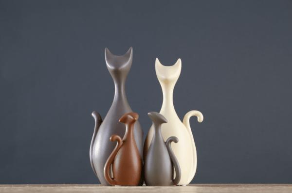 Decoratieve Kattenbeelden met 2 kattenkinderen
