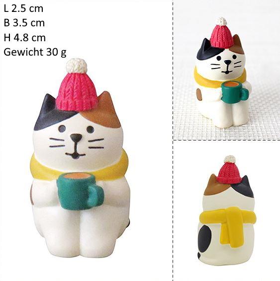 Een kat met hot choco Kerst Kattenbeeldjes