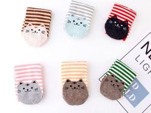 Gestreepte Sokken met Kattenprint | Maat 35-42