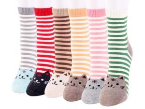 Alle verschillende Gestreepte Sokken met Kattenprint