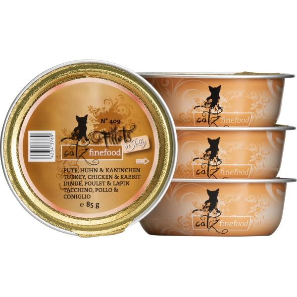 Catz finefood Filets N°409 – Kalkoen, Kip & Konijn in Gelei