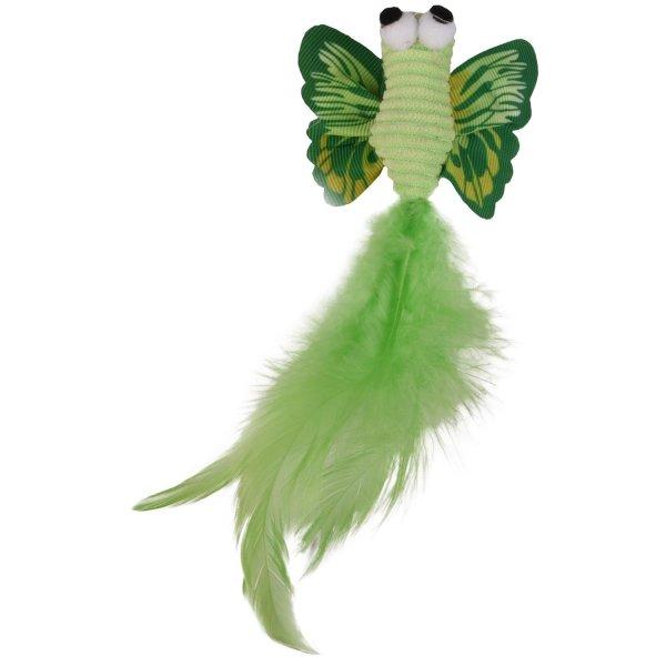 Kattenspeelgoed Vlinder met Veer groen