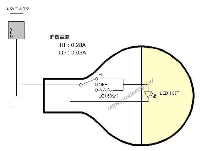 100均のUSB接続電球型LEDライト(追加スイッチの回路図)