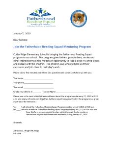 Fatherhood Reading Squad Program Meeting