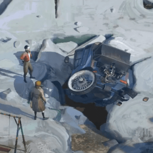 Harry finds his police vehicle in the ice