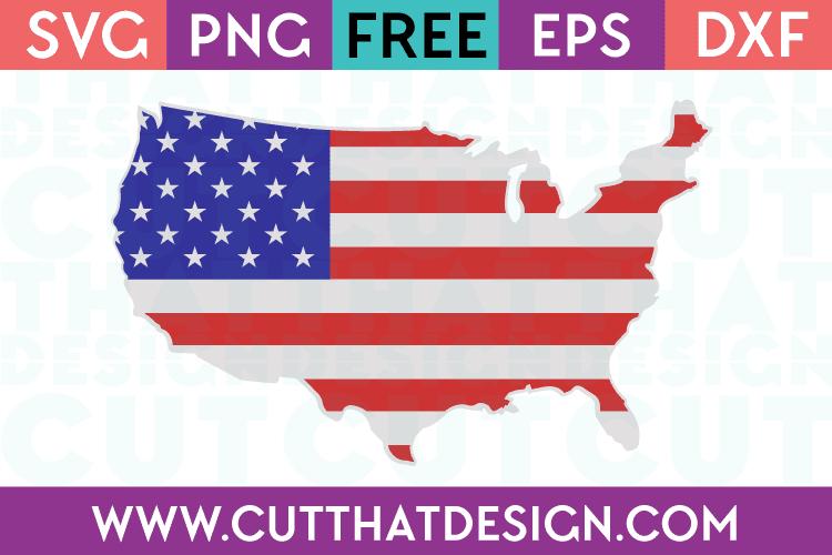 Download Free SVG Files | USA Outline Flag Design Cut That Design