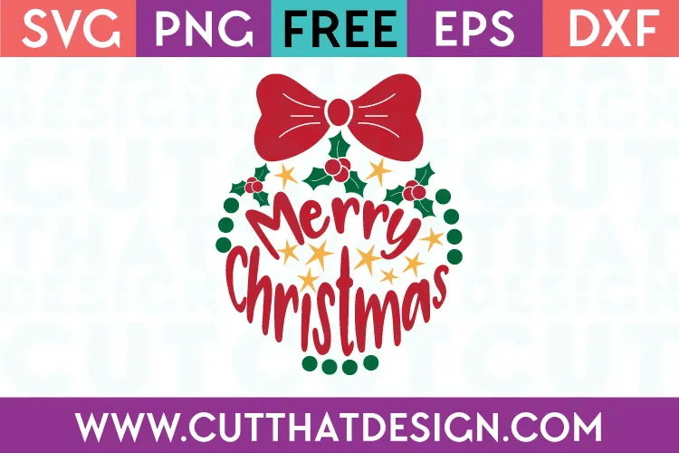 Download Free SVG Files | Merry Christmas Ornament Design Cut That ...