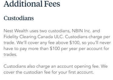 Nestwealth Custodian Fees