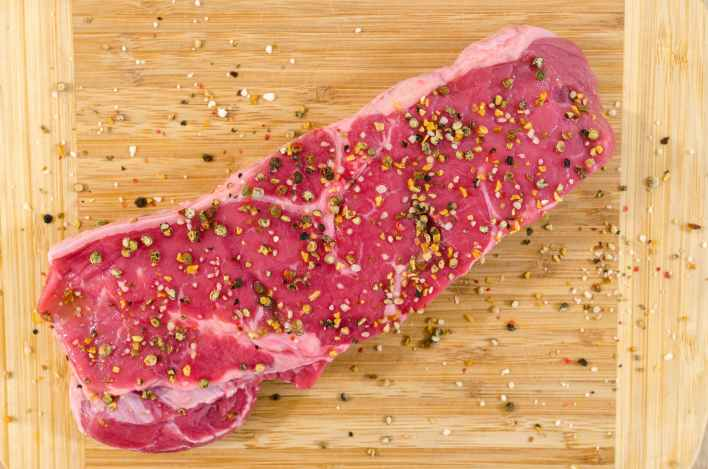 bbq beef chopping board close up