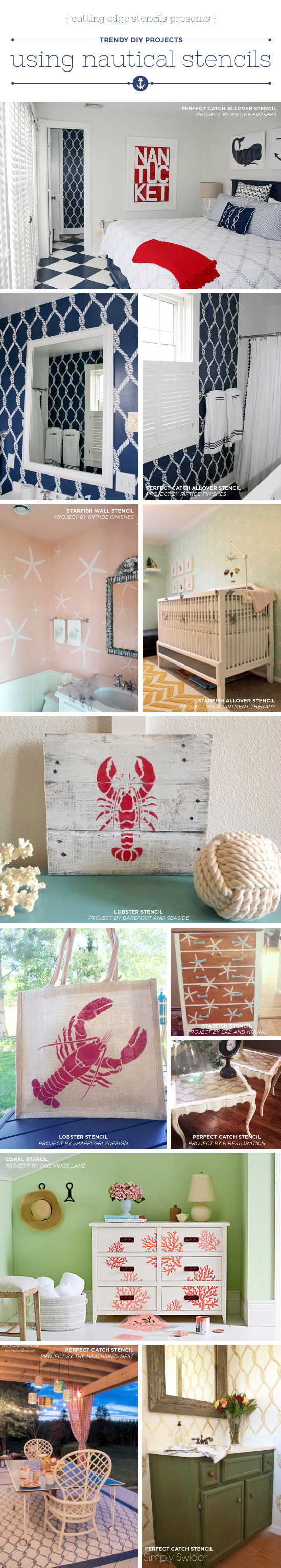 Trendy DIY Projects Using Nautical Stencils Cutting Edge Stencils shares DIY Nautical home decor projects using Beach  Inspired Stencils  http