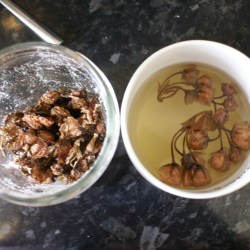 Preserved cherry blossoms steeping