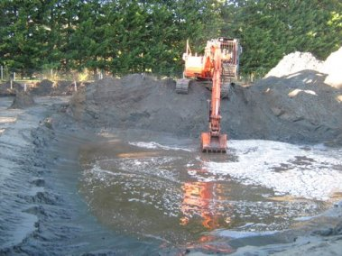 Excavating the pond, as part of the stormwater design