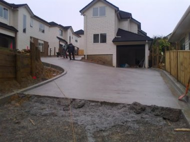 The driveway and townhouses – almost completed