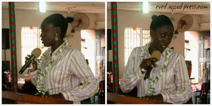 Miss Bimbo Williams (Event Decorator) giving her speech