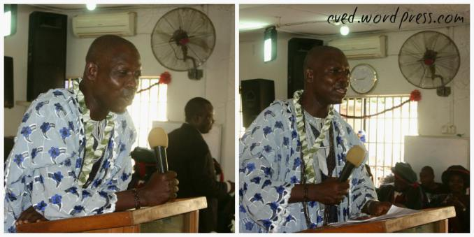 Chief Alonge giving his speech