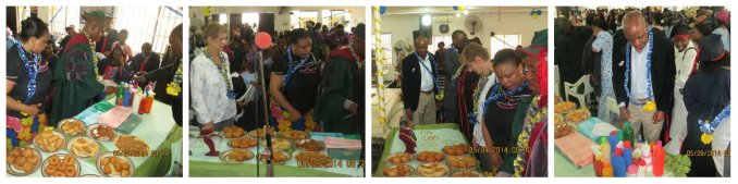Dignitaries assessing displayed products