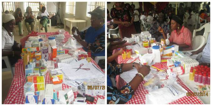 Pharmacists administering free drugs for malaria and typhoid treatment, etc.