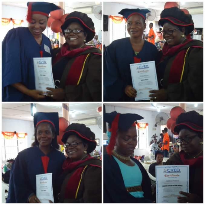Rev. Mrs. Bamidele Olatona presenting certificates