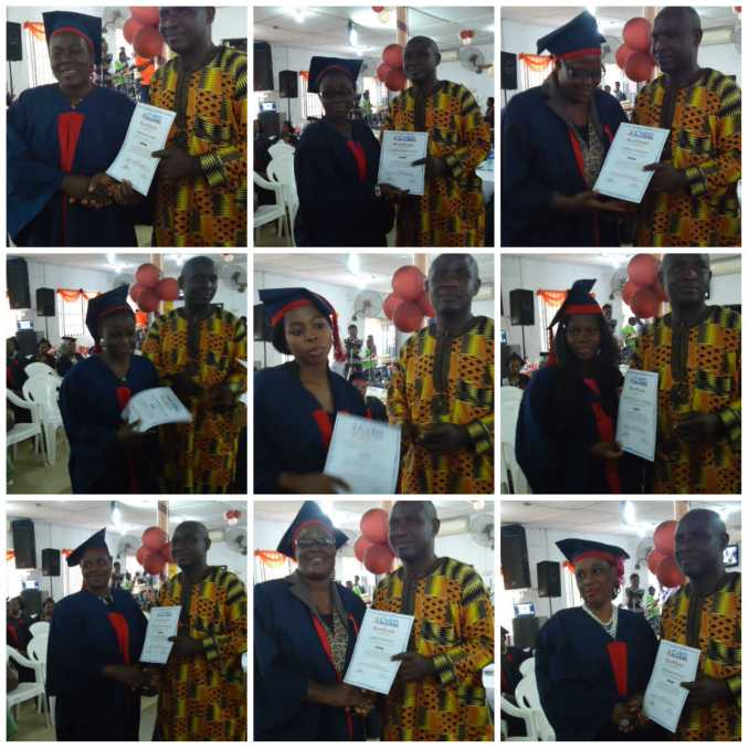 Mr. Yinka Fisher presenting certificates to some of the graduands