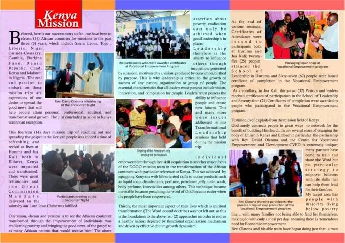Kenya 2014 Mission E-Newsletter. Page 2