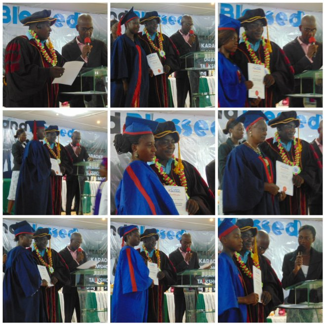 Pastor Olajide Esan giving out certificates to some students of the Adult Literacy, Photography and Computer classes
