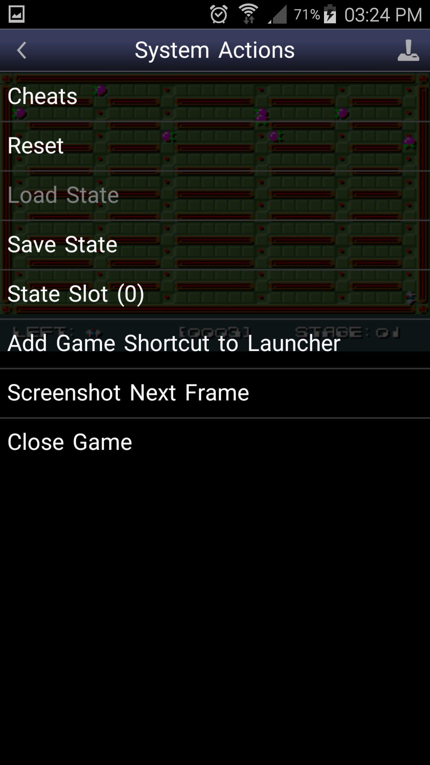 menu Snes9X EX+ khi vào game