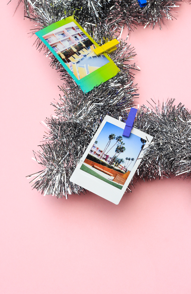 DIY Instax + Tinsel Wreath