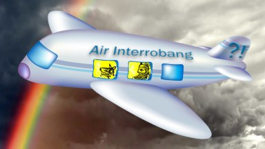 Haiku Humor. Writing Humor. Travelling humor. Traveling Fool on Air Interrobang in a photoshop mashup. How do you like my haiku? Deconstructed Fool from canstock image csp440045 by artist Xochicalco. Plane illustration is csp3483460 by artist realrocking. Rainbow background is csp4542256 by artist basel101658.