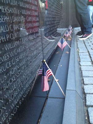 The Vietnam War Memorial pays tribute to fallen soldiers.