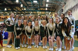 The Trojan cheerleaders pose at the Deer Valley competition.