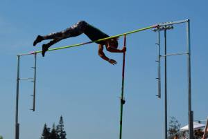 Randall Le Blanc competes in pole vaulting during the meet. Photo by Jes Smith
