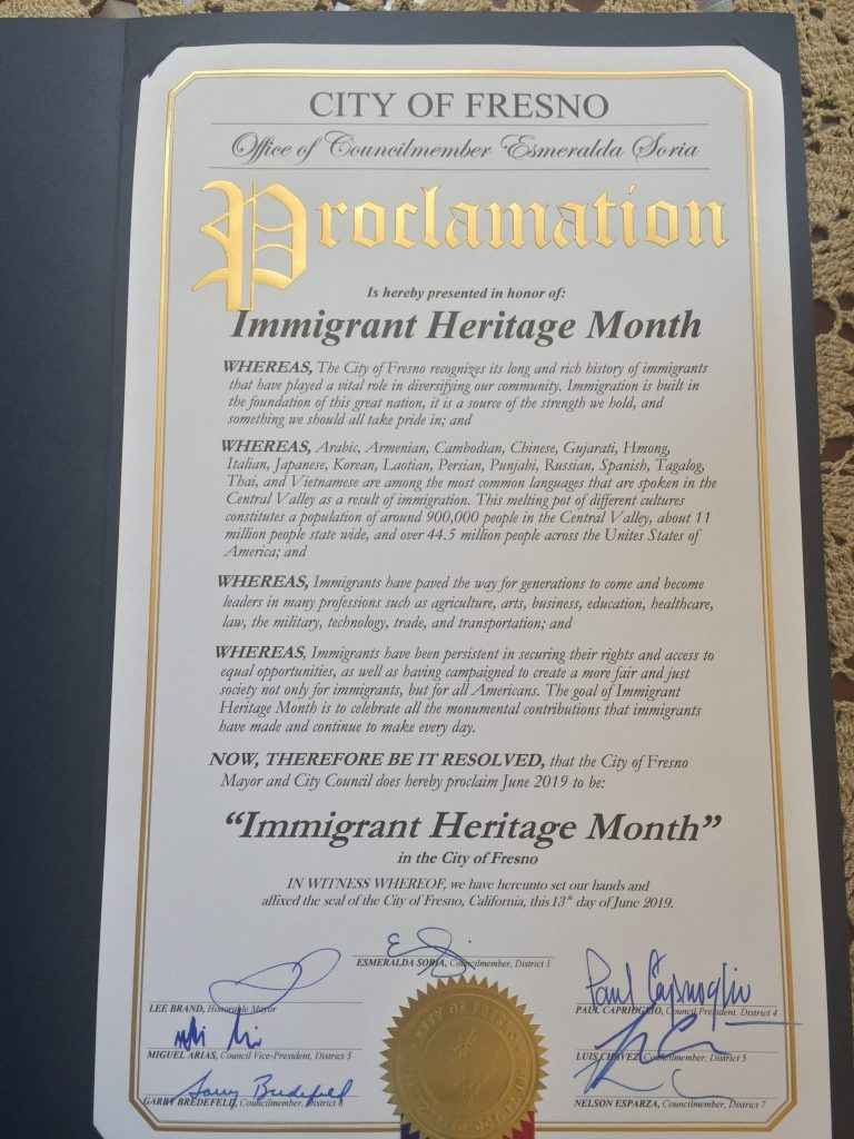 Fresno City Council Immigrant Heritage Month proclamation June 2019