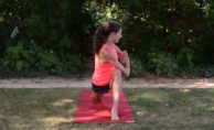 A deeper stretch to add in after this once you feel ready: Bring both hands to prayer, bring your opposite elbow over your front knee. Use your elbow pressing into your leg to deepen the twist and keep lengthening through your spine.