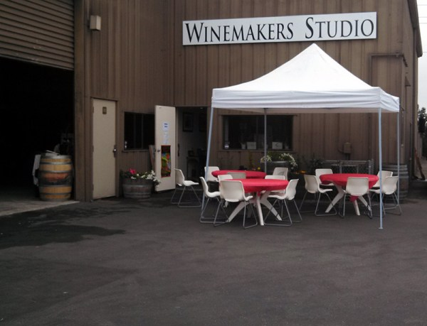 The Santa Cruz Winemakers' Studio, quiet before the event, fills up with wine-lovers by the time I leave a few hours later.
