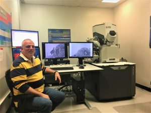 Dr. Alexander Franz and his team discovered how a virus moves within a mosquito's body. A focused ion beam electron microscope, pictured here, allowed researchers to see multiple layers of tissue inside a mosquito.
