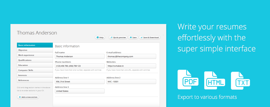 create professional resumes online for free cv creator cv maker