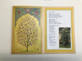 """Loring Starr: Trees chapbook #2, pages 9 & 10, miniature of tree, and """"Big Green Trees"""" by Dennis Murphy"""