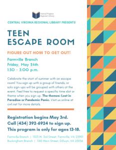 Teen Escape Room @ Farmville Branch