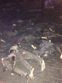 Burnt bodies from blast