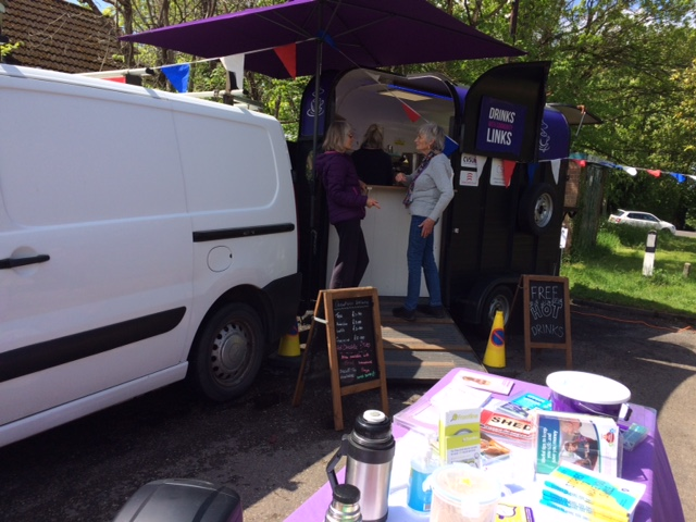 Horse trailer converted into a mobile cafe and community hub.