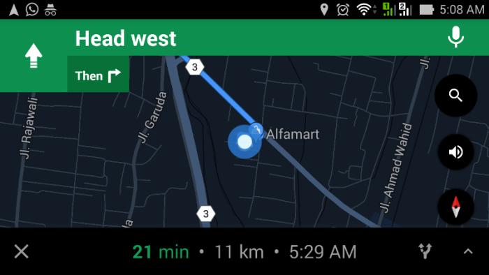 Tampilan pentunjuk arah goole maps