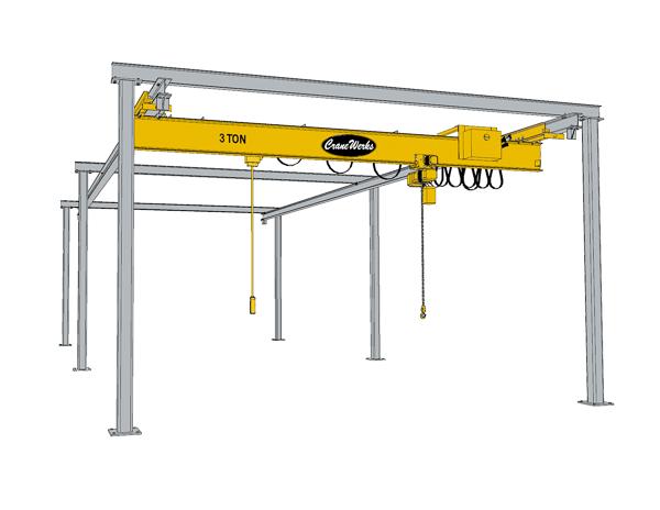 Overhead Crane Bridge Design : Underhung free standing bridge crane runway cranewerks