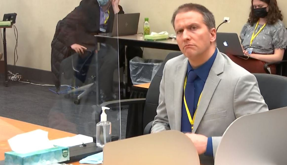 Derek Chauvin in courtroom during defense closing arguments for George Floyd case