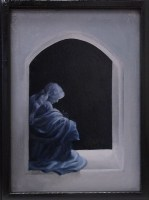 """In the Beginning (inside right panel), oil on canvas, 9 x 12"""", 2012"""