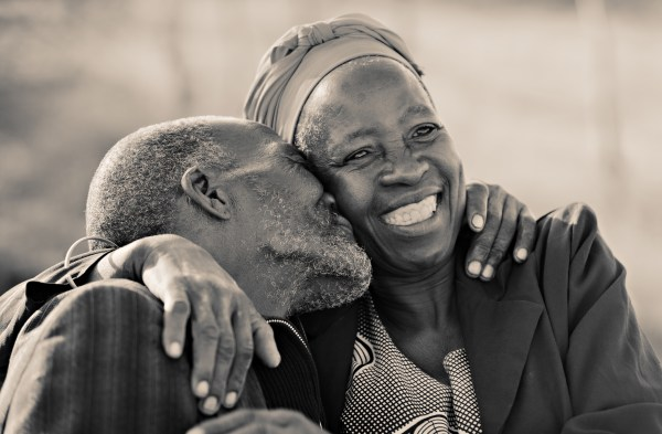 in love African American couple in their eighties and seventies,