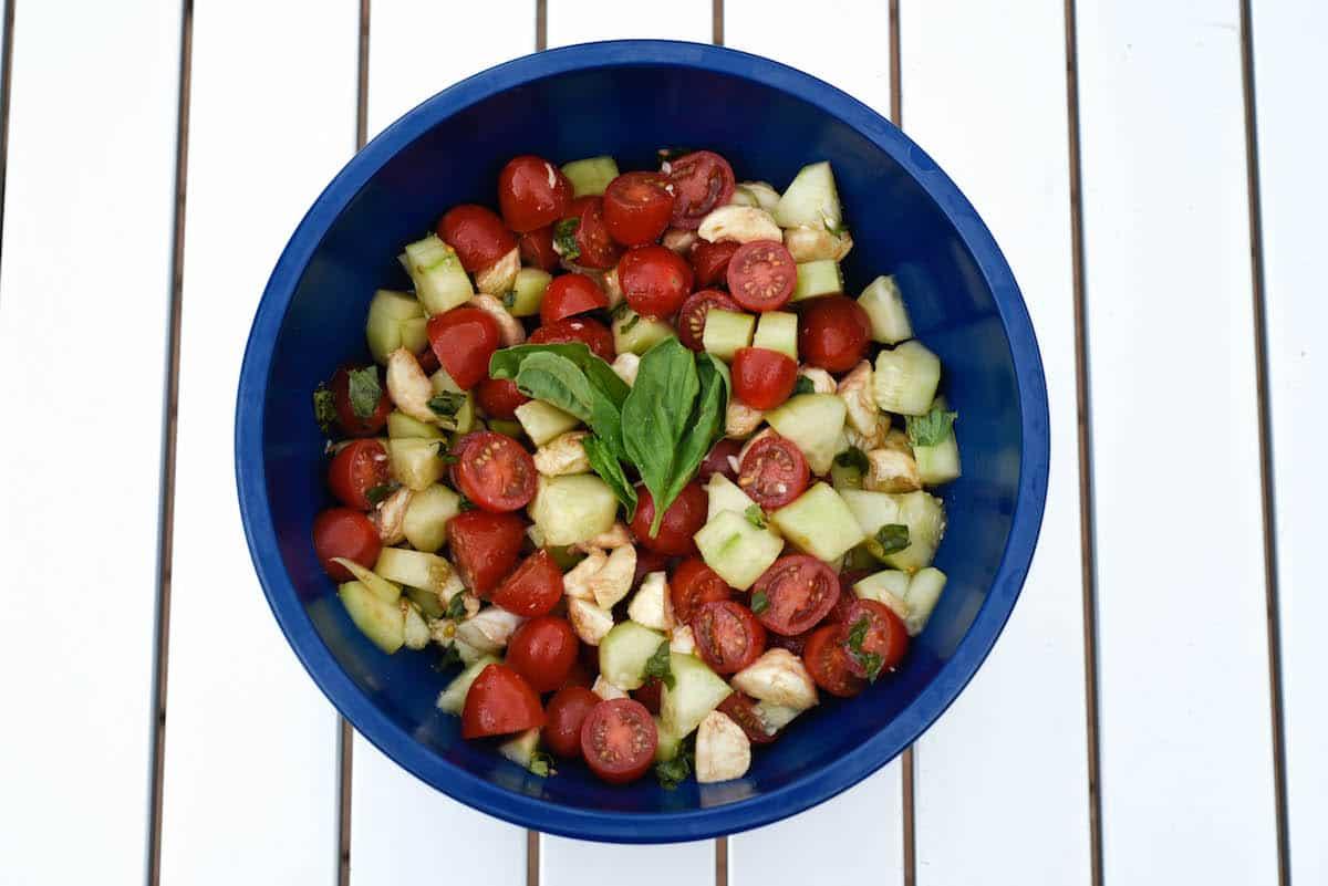 Cucumber caprese chopped salad