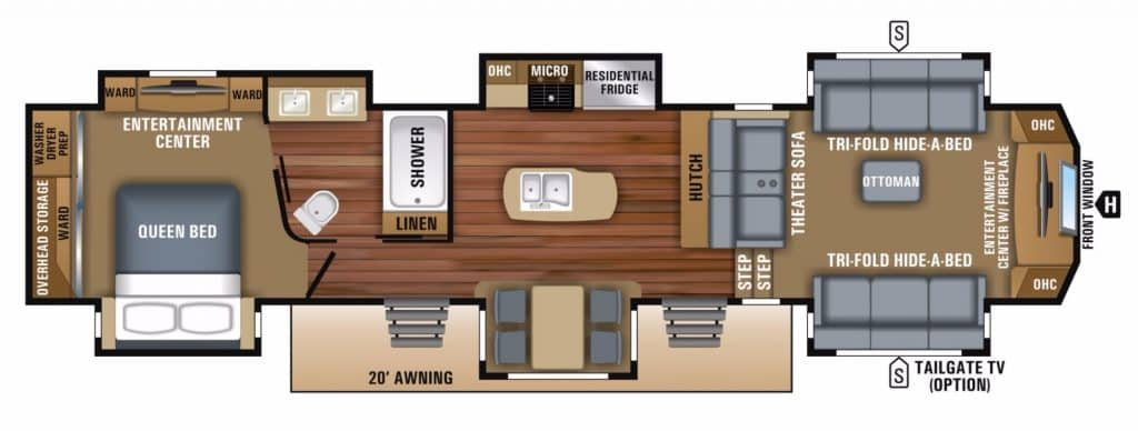 front living floor plan fifth wheel rv