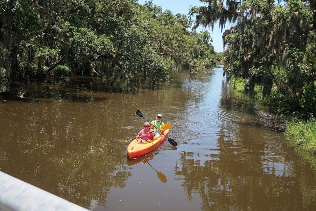 couple kayaks through frog creek near Tampa, FL
