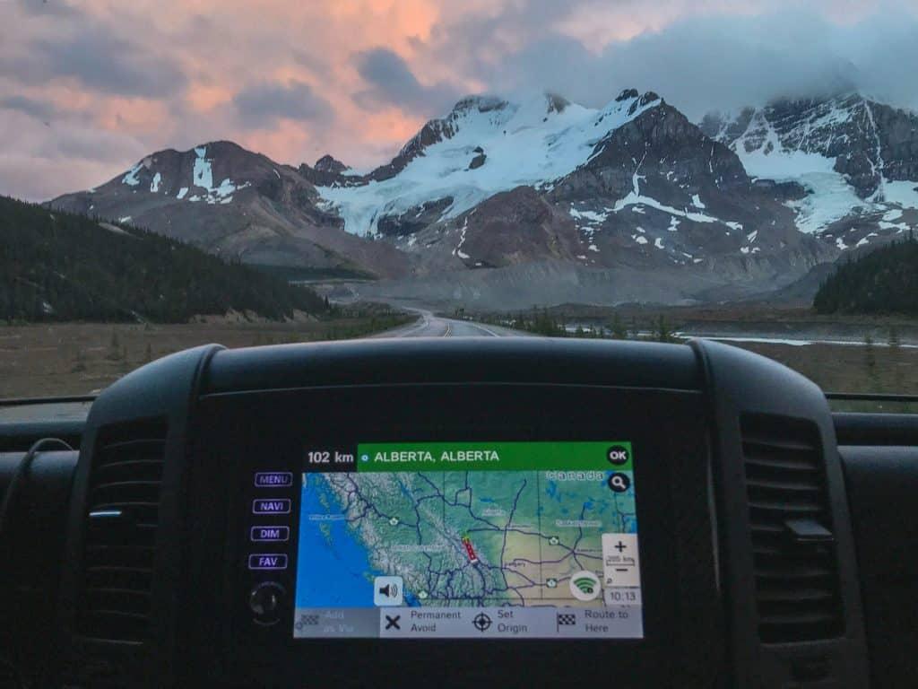 RV GPS with mountain views