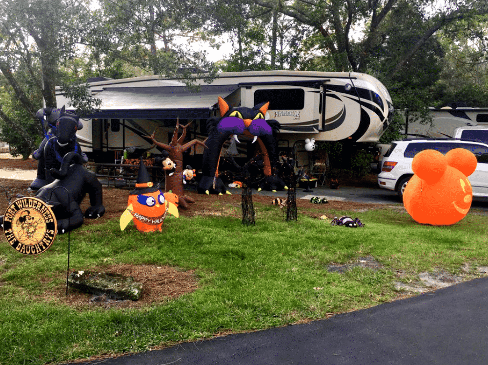 Campsite decorating contests are a popular October camping activity.